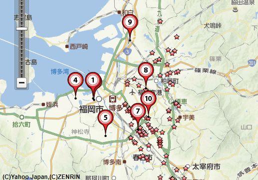 切手買取福岡の地図