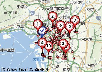 大阪切手買取地図画像